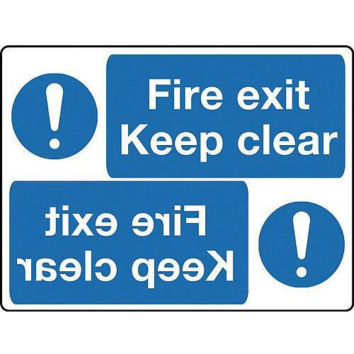 Rigid PVC Plastic Mirror Sign Header Fire Exit Keep Clear 400 x 600mm