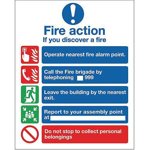 Fire Action 200X250 Rigid Plastic