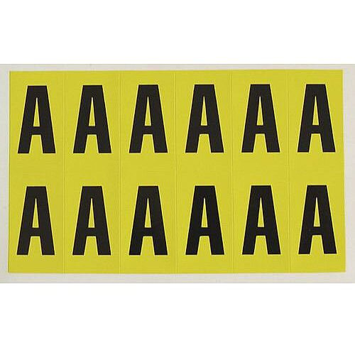 Adhesive Label Bin Sticker Letter A H12.5xW8.5mm 90 Characters Per Sheet Black Text On Yellow