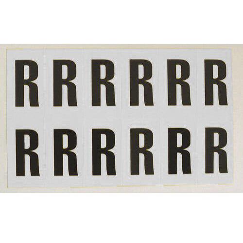 Adhesive Label Bin Sticker Letter R HxW 56x21mm Black Text On White