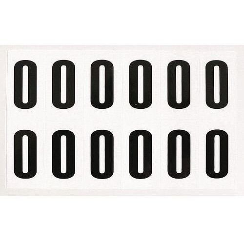 Numbers And Letters Black On White Number 0 H90xW38mm 6 Characters Per Sheet