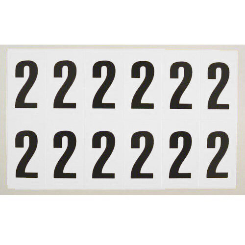 Numbers And Letters Black On White Number 2 W38Xh90mm 6 Characters Per Sheet