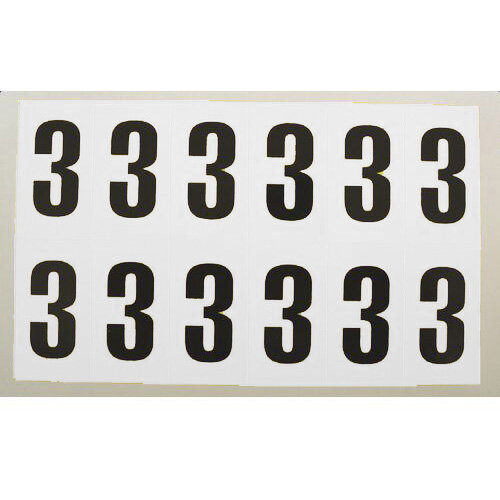 Numbers And Letters Black On White Number 3 H90xW38mm 6 Characters Per Sheet