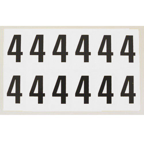 Numbers And Letters Black On White Number 4 W38xH90mm 6 Characters Per Sheet