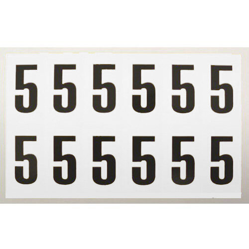 Numbers And Letters Black On White Number 5 H90xW38mm 6 Characters Per Sheet