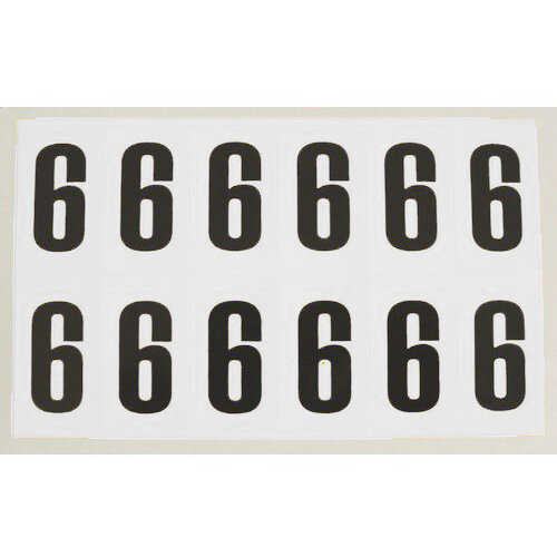 Numbers And Letters Black On White Number 6 H90xW38mm 6 Characters Per Sheet