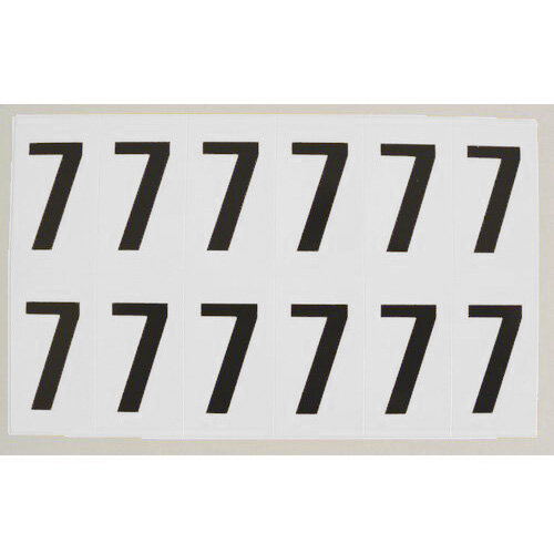 Numbers And Letters Black On White Number 7 H90xW38mm 6 Characters Per Sheet