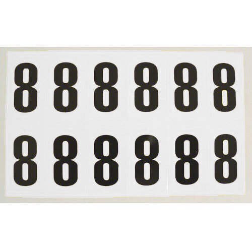 Numbers And Letters Black On White Number 8 W38xH90mm 6 Characters Per Sheet