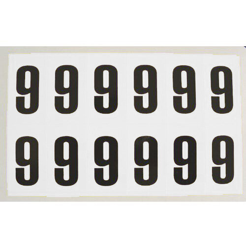 Numbers And Letters Black On White Number 9 H90xW38mm 6 Characters Per Sheet