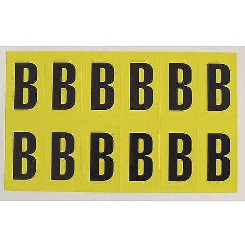 Adhesive Label Bin Sticker Letter B W38xH90mm 6 Characters Per Sheet Black Text On Yellow