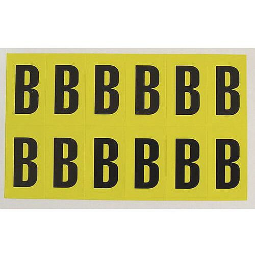 Adhesive Label Bin Sticker Letter B W45Xh130mm 5 Characters Per Sheet Black Text On Yellow