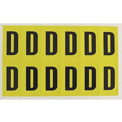 Adhesive Label Bin Sticker Letter D H130xW45mm 5 Characters Per Sheet Black Text On Yellow