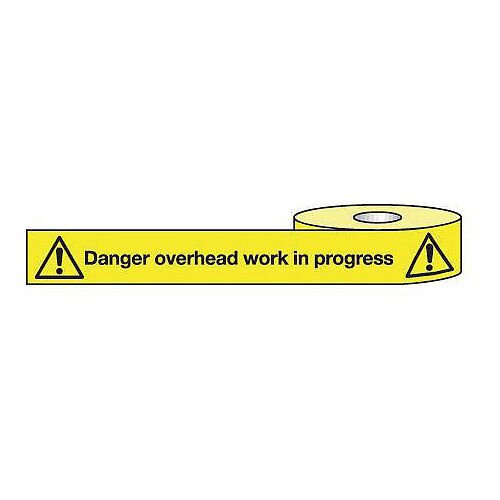 Non-Adhesive Barrier Tape Danger Overhead Work 150mm x 100m Tape
