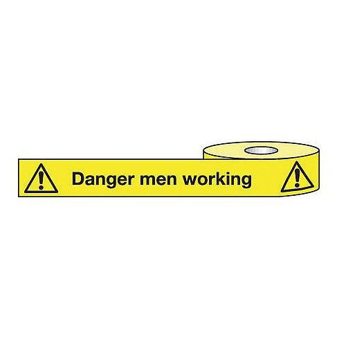 Non-Adhesive Barrier Tape Danger Men Working 150mm x 100m Tape