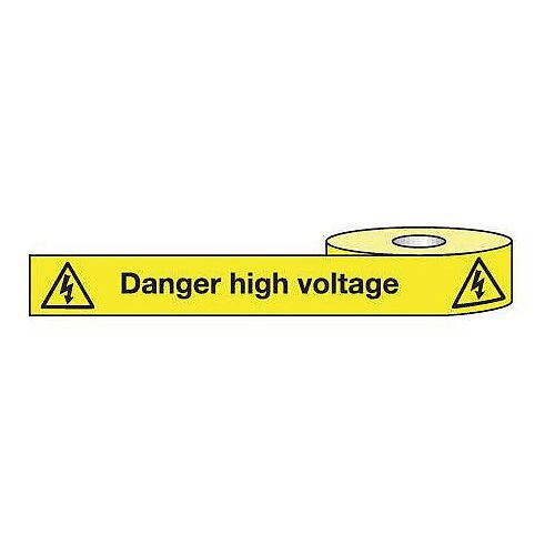Non-Adhesive Barrier Tape Danger High Voltage 75mm x 250m Tape