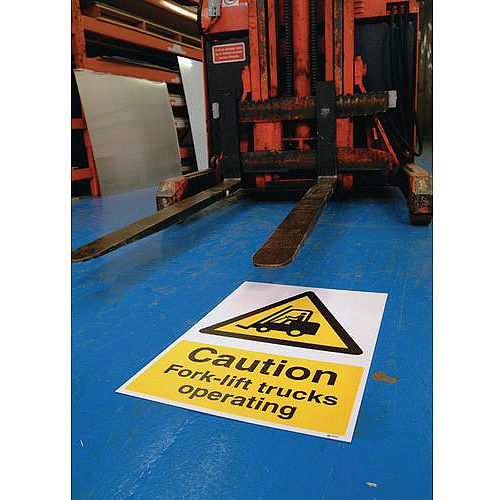 Sign Caution Fork-Lift Truck 400x600 Floor Vinyl