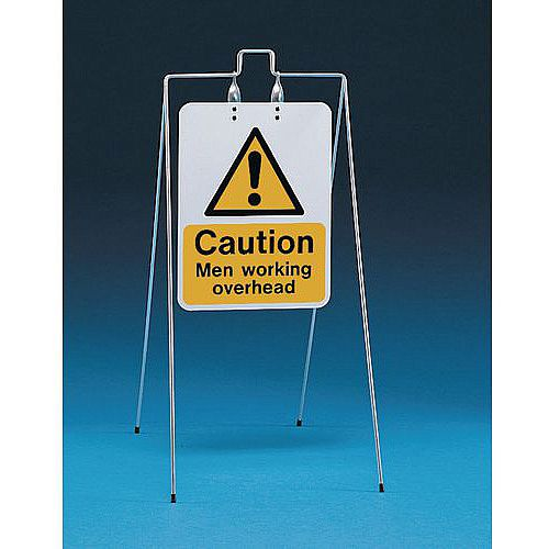 Double Sided Free Standing Sign Caution Men Working Overhead