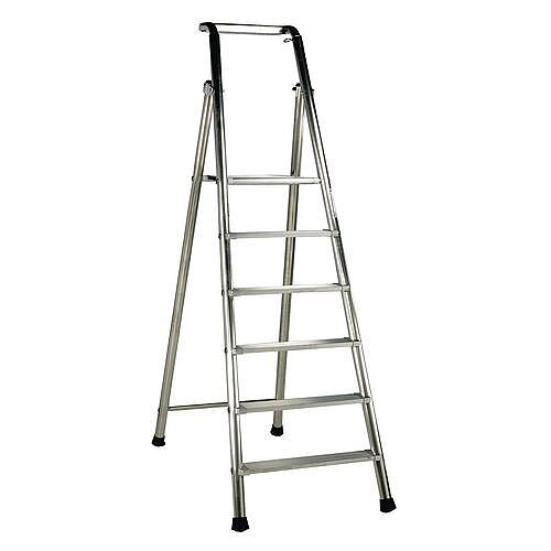 Extra Heavy Duty Aluminium 6 Step Ladder Platform Height 1.43M Closed Height 2.41M Capacity 350Kg