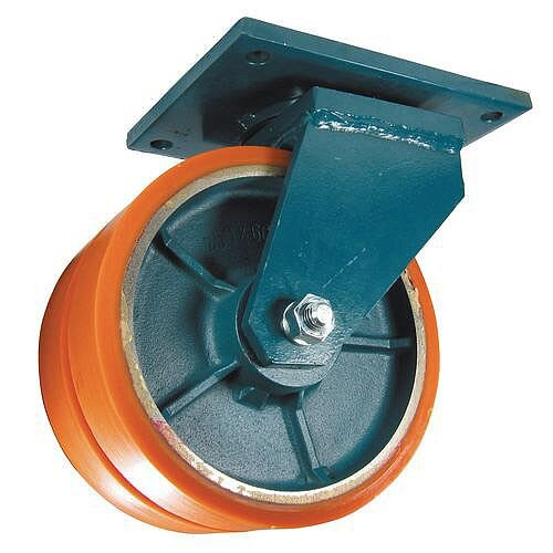Polyurethane Tyred Twin Wheel, Plate Fixing - Swivel Load Capacity 2000kg