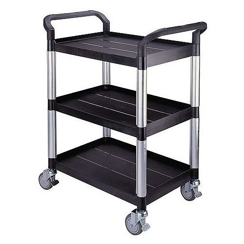 Three Tier Plastic Utility Tray Trolley With Open Sides And Ends With 3 Standard Black Shelf