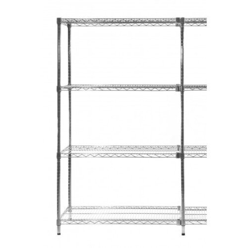 Olympic Chrome Wire Shelving System 1590mm High Add-On Unit WxD 1067x610mm 4 Shelves &2 Posts 350kg Shelf Capacity
