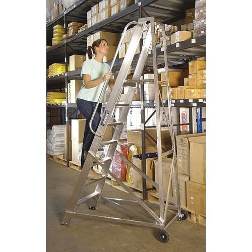 Extra Heavy Duty Aluminium Warehouse Steps Max Height 2.342M Platform Height 1.635M