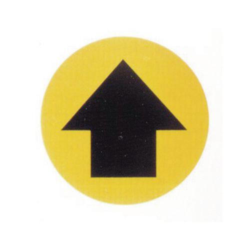 Floor Graphic Marker Black Arrow On Yellow Background 430mm Diameter Slip Resistant