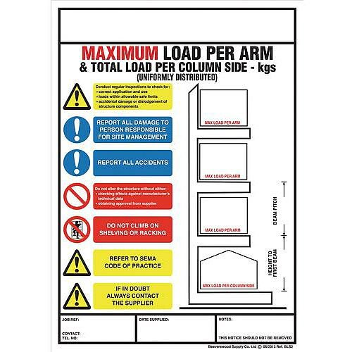 Weight Load Notice Sign For Cantilever Racking
