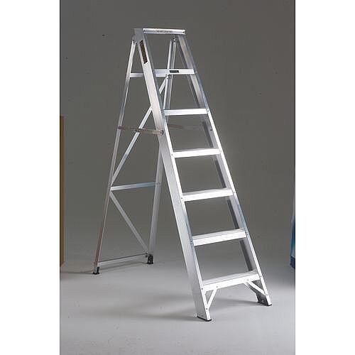 Heavy Duty Swingback Steps Ladder Tread 10 Open Height 2.33m Silver