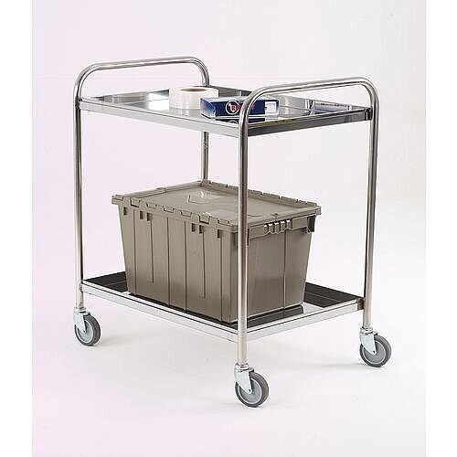 Stainless Steel Removable Shelf Trolley 2 Shelves Capacity 75kg