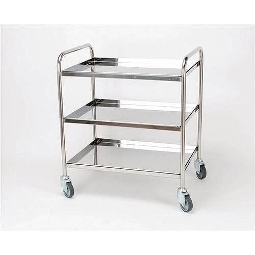 Stainless Steel Removable Shelf Trolley 3 Shelves Capacity 100kg