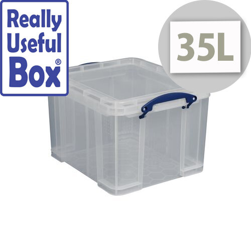 Really Useful Box Transparent Container 35 Litres Document Box Clear