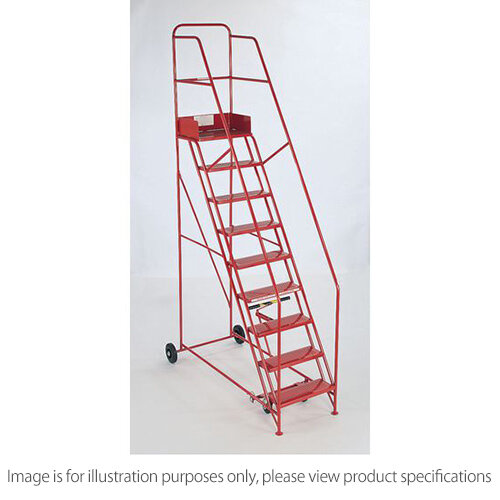 Folding Red Mobile Steps Max Height 4.25M Platform Height 3.25M