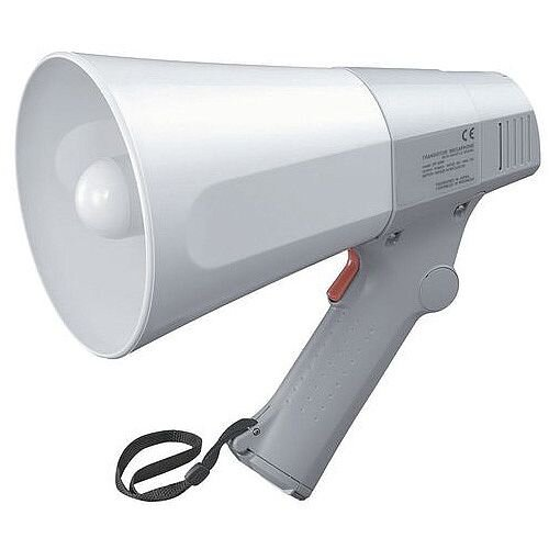 Compact Megaphone With Whistle Feature White/Grey