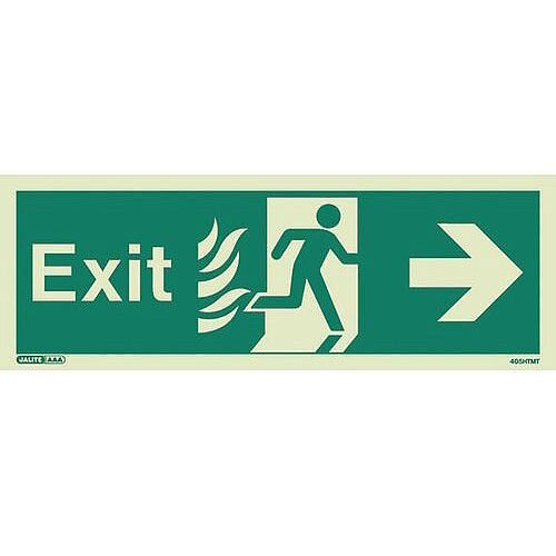 Photoluminescent NHS HTM 65 Fire Exit Sign Arrow Right HxW 150x400mm
