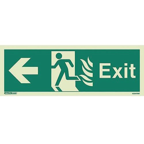 Photoluminescent NHS HTM 65 Fire Exit Sign Arrow Left HxW 200x450mm