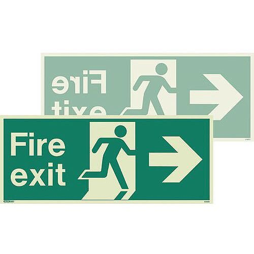 Fire Exit Double Sided Sign For Large Buildings 250X600