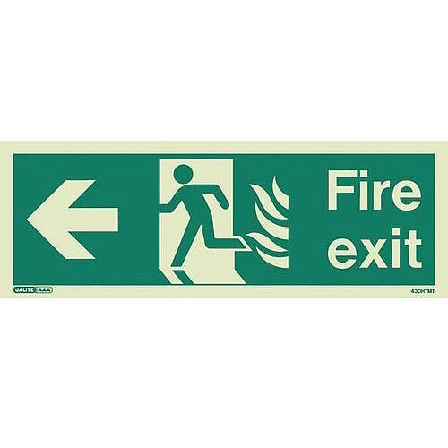 Photoluminescent NHS HTM 65 Fire Exit Sign arrow left HxW 150x400mm