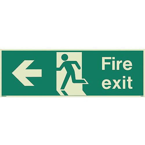 Photoluminescent Fire Exit Sign Fire Exit Arrow Left HxW 200X450mm
