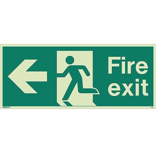 Photoluminescent Fire Exit Single Sided For Large Buildings 250X600 Arrow Left Sign