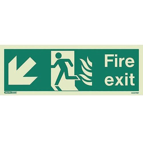 Photoluminescent NHS HTM 65 Fire Exit Sign Arrow Down Left HxW 200x450mm