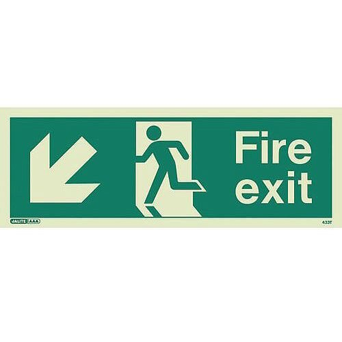 Photoluminescent Fire Exit Sign Fire Exit Arrow Down Left HxW 150X400mm