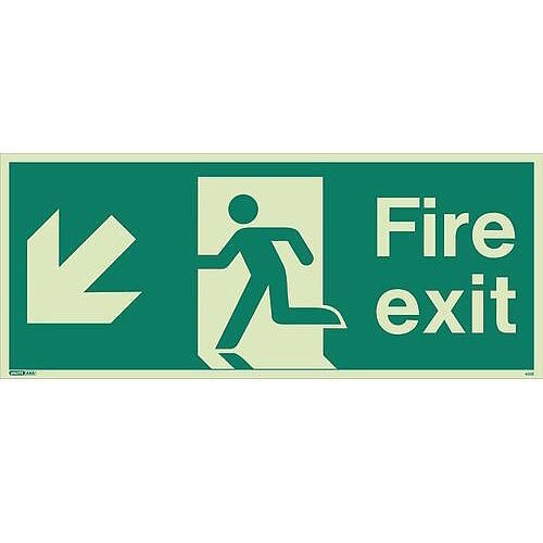 Photoluminescent Fire Exit Single Sided For Large Buildings 250X600 Arrow Down Left Sign