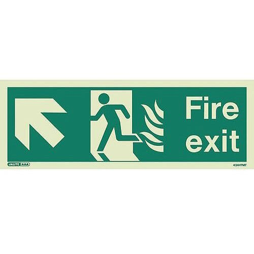 Photoluminescent NHS HTM 65 Fire Exit Sign arrow up left HxW 200x450mm Ref:SY318200