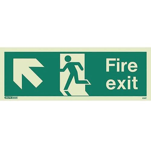 Photoluminescent Fire Exit Sign Fire Exit Arrow Up Left HxW 200X450mm