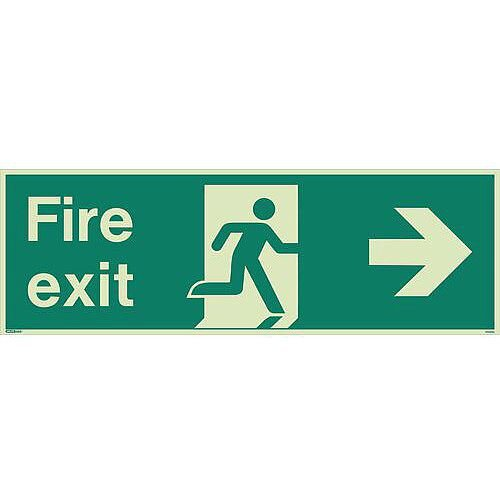 Photoluminescent Fire Exit Single Sided Sign For Large Areas 300X900mm Fire Exit Arrow Right