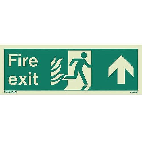 Photoluminescent NHS HTM 65 Fire Exit Sign arrow up HxW 150x400mm Ref: SY318249