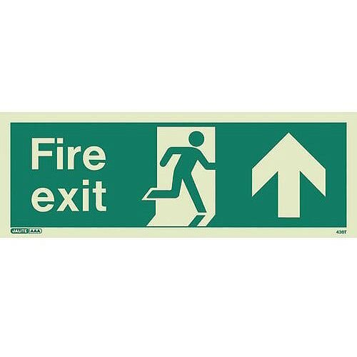 Photoluminescent Fire Exit Sign Fire Exit Arrow Up HxW 200X450mm