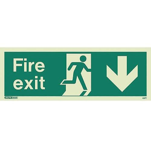 Photoluminescent Fire Exit Sign Fire Exit Arrow Down HxW 200X450mm