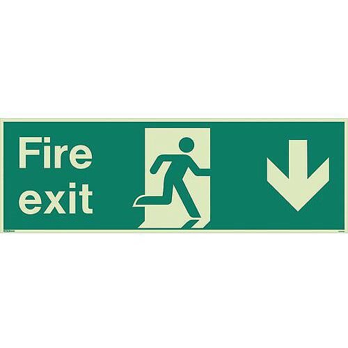 Photoluminescent Fire Exit Single Sided Sign For Large Areas 300X900mm Fire Exit Arrow Down
